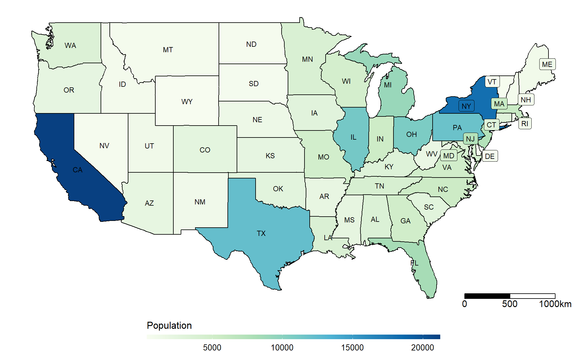 ggplot heatmap US 50-state map and China province map